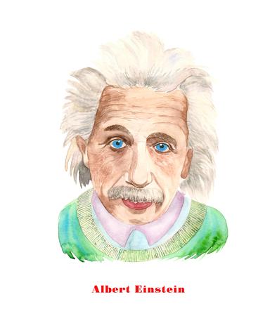 Illustrazione dell'acquerello di Albert Einstein su priorità bassa bianca. Editoriali