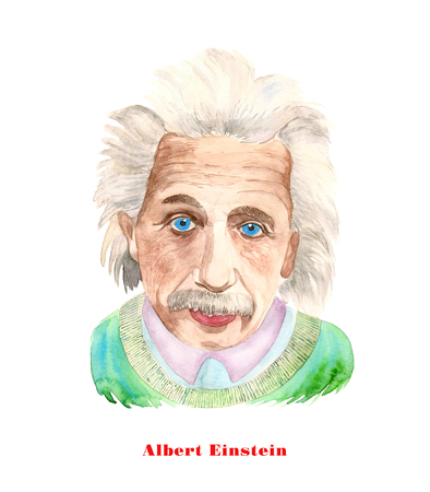 Watercolor illustration of Albert Einstein on white background. Imagens - 72723330