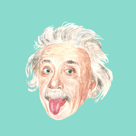 Watercolor illustration of Albert Einstein on green background.