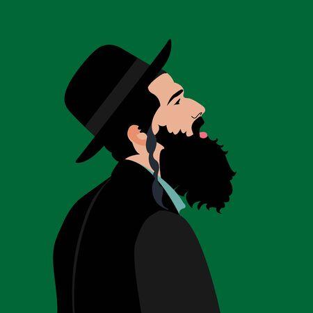 rabbi: Traditional Jewish man, rabbi. Illustration