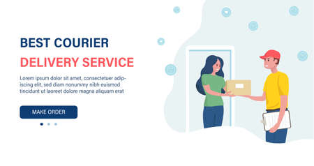 Woman receives the parcel. Delivery service. Courier with the parcel. Presentation slide template or landing page website design. Ilustracja