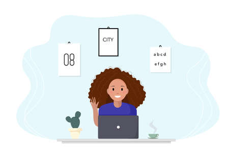 Woman sits at a laptop and studies online. Woman greets a teacher by online communication. Flat design concept of online education, training and courses, learning, video tutorials. Vector illustration