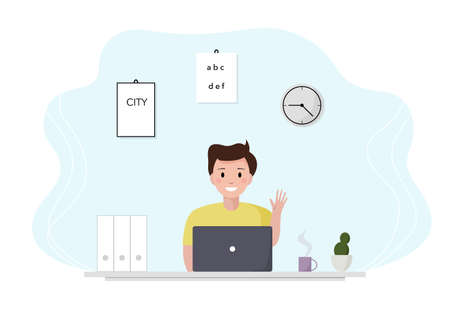 Man enjoys an online learning course. Home learning online and freelance. Vector illustration, suitable for landing page, ui, website, mobile app, editorial, poster, flyer, article, and banner.