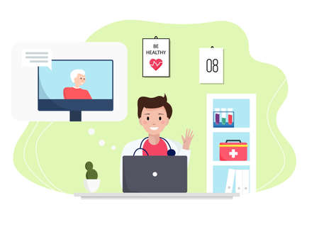 Senior man consulting with a doctor online using his computer, telemedicine and online doctor concept. Doctor consulting a patient online. Flat vector illustration isolated on white background.