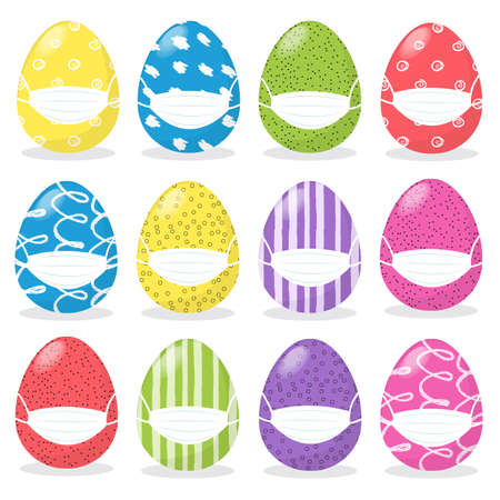 Happy Easter concept with cartoon colored eggs set in medical protective face mask For Avoid Coronavirus, Stay Home And Stay Safe. Easter celebration during the coronavirus pandemic. Flat illustration