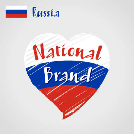 Russia flag in shape of heart, pencil strokes drawing.