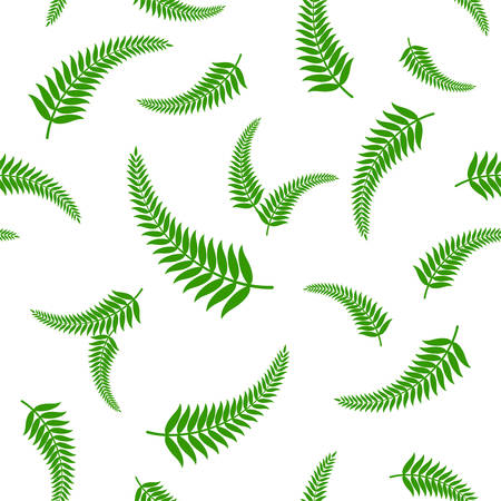 Vector illustration of green fern leaves seamless pattern, which is a traditional national symbol of New Zealand.