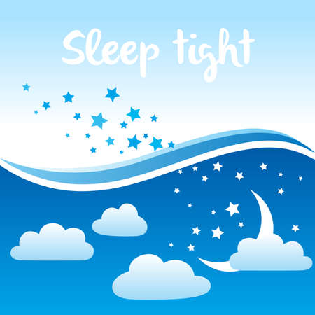 Vector background with night sky scenery, stars, moon, clouds