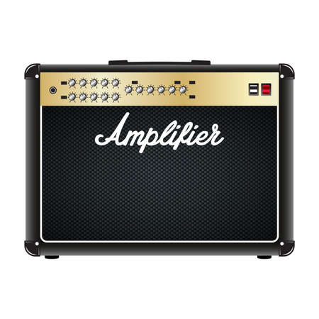 Gitarren-Combo-Verstärker, amp. Realistische Vektorgrafik des Vektors lokalisiert auf einem weißen Hintergrund.