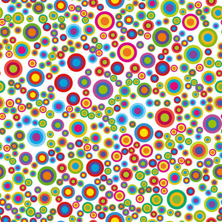 Colorful psychedelic circles. Vector circle seamless pattern on white background.
