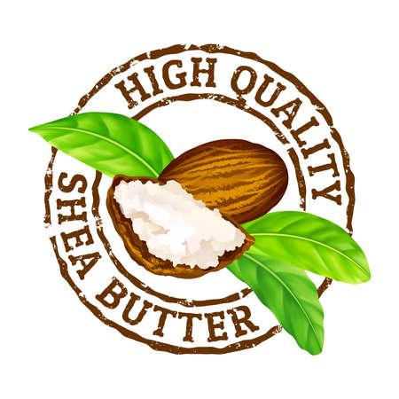 Sello de goma del grunge de vector Manteca de karité de alta calidad sobre un fondo blanco. Icono de sello de nueces de karité, mantequilla y hojas verdes.