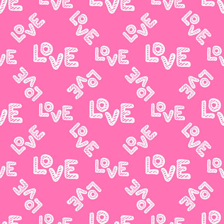 Love seamless pattern. Happy Valentines Day greeting card. Hand drawn vector illustration isolated on white background.