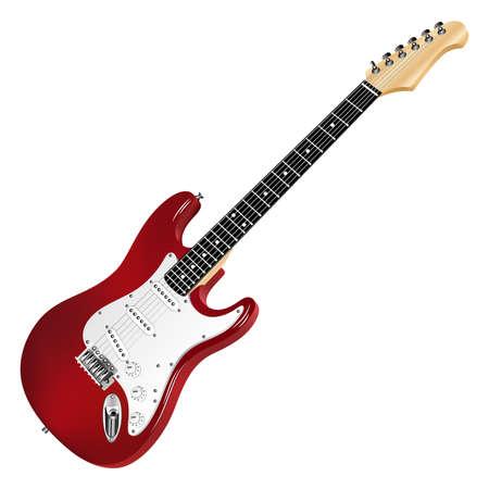 Guitare électrique rouge, classique. Vecteurs