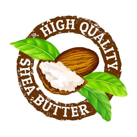 Timbre en caoutchouc de vecteur grunge. Beurre de karité de haute qualité sur fond blanc. Noix de karité, beurre et feuilles vertes laisse l'icône de timbre. Vecteurs