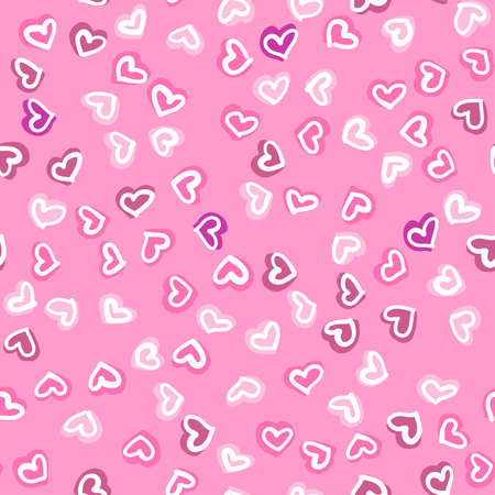 Seamless pattern with hand drawn hearts. Happy Valentines Day greeting card. Vector illustration with hand drawn pink hearts.