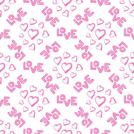 Amo il modello senza cuciture con i cuori. Auguri di buon San Valentino. Illustrazione vettoriale su sfondo bianco. Vettoriali