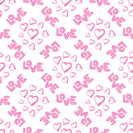 Love seamless pattern with hearts. Happy Valentines Day greeting. Vector illustration on white background.