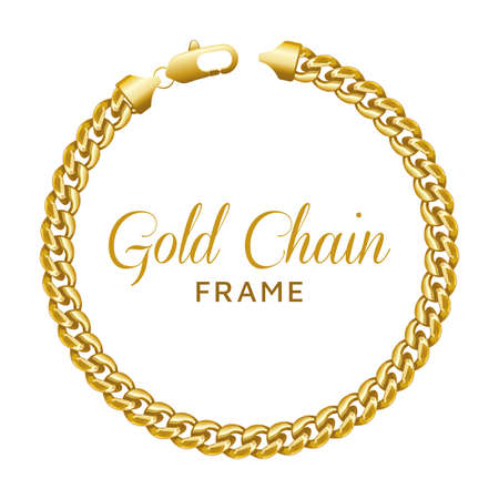 Gold chain round border frame. Wreath circle shape with a lobster lock. Realistic vector illustration isolated on a white background. Illustration