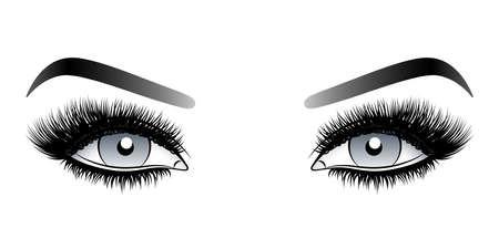 Szare oczy kobiety z długimi sztucznymi rzęsami z brwiami. Ilustracja wektorowa na białym tle. Rysunek tuszem. Makijaż oczu.