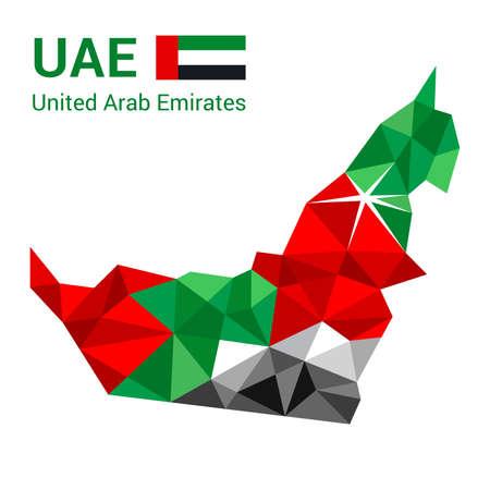 United Arab Emirates flag map in polygonal geometric style. 向量圖像