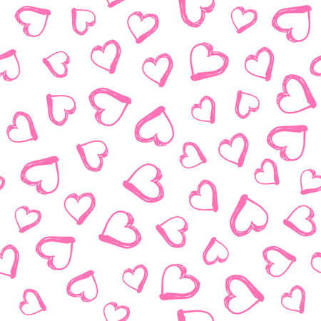 Seamless pattern with hand drawn hearts. Happy Valentine s Day greeting. Vector illustration with hand drawn pink hearts.