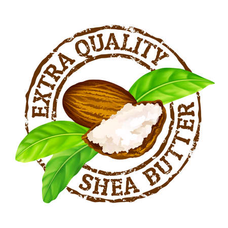 Vector grunge rubber stamp extra quality shea butter on a white background. Shea nuts, butter and green leaves leaves stamp icon.