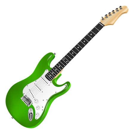 Green electric guitar, classic.