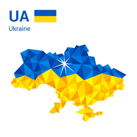 Mapa de la bandera de Ucrania en estilo geométrico poligonal.