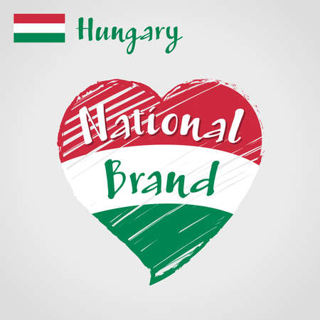 Vector flag heart of Hungary, National Brand. Hungary flag in shape of heart, pencil strokes drawing.