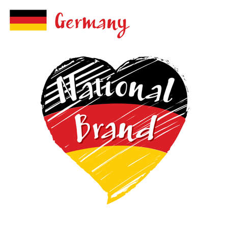 Vector flag heart of Germany, National Brand. Germany flag in shape of heart, pencil strokes drawing.