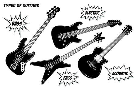 Electric, bass and acoustic guitar with 6 and 4 strings. Vector black and white silhouette illustration isolated on white background. Ilustração
