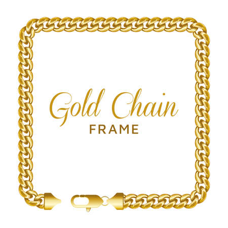 Gold chain square border frame. Rectangle wreath shape with text template. Realistic vector illustration isolated on a white background. Ilustração