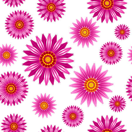 Echinacea purpurea flowers vector seamless pattern. Vector seamless pattern of echinacea purpurea blooming flowers. Stock Illustratie