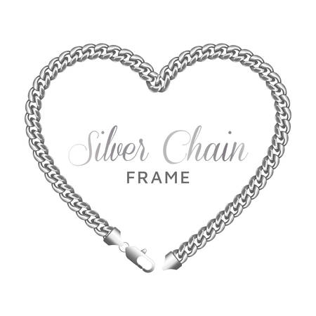 Silver chain heart love border frame template.