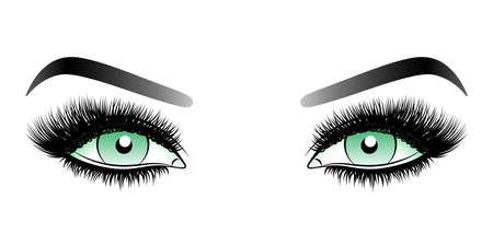 Ojos verdes de mujer con largas pestañas postizas con cejas. Ilustración de vector aislado sobre fondo blanco. Dibujo a tinta. Maquillaje de ojo.