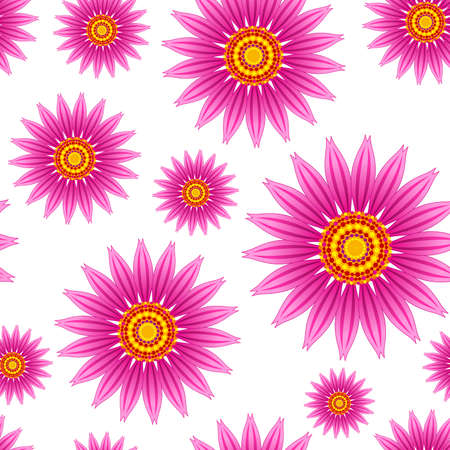 Echinacea purpurea flowers vector seamless pattern. Stock Illustratie