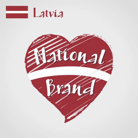 Vector flag heart of Latvia, National Brand. Latvia flag in shape of heart, pencil strokes drawing. Stock Illustratie