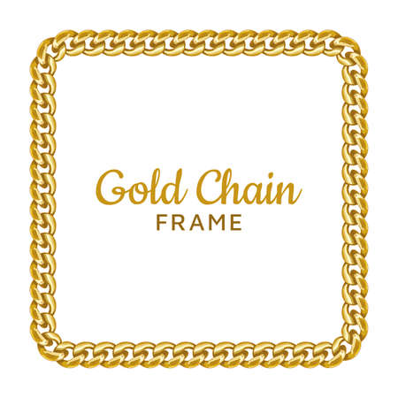 Gold chain square border frame. Rectangle wreath shape. Jewelry image. Realistic vector illustration isolated on a white background.