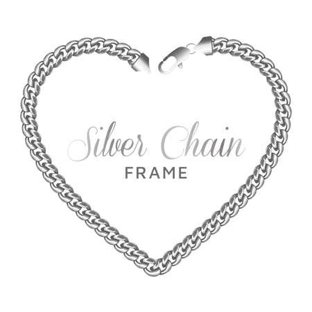 Silver chain heart love border frame.