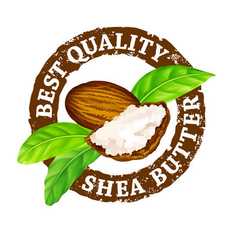 Vector grunge rubber stamp Best quality shea butter on a white background.