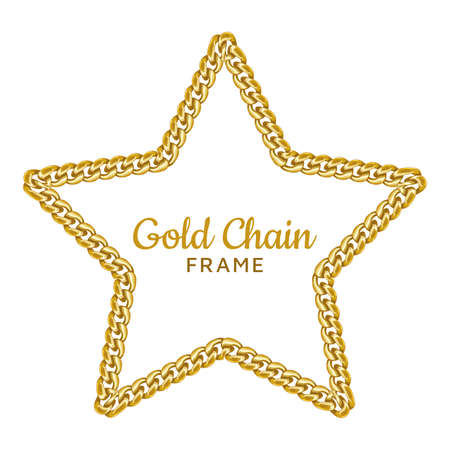 Gold chain star border frame. Wreath starry shape. Jewelry accessory.