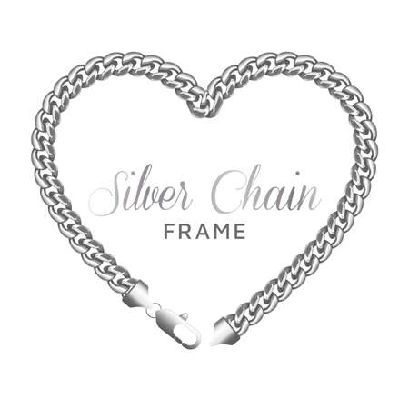 Silver chain heart love border frame.