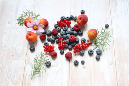fresh scattered fruit and flower, raspberries, red currants and blueberries, apricots and cherries