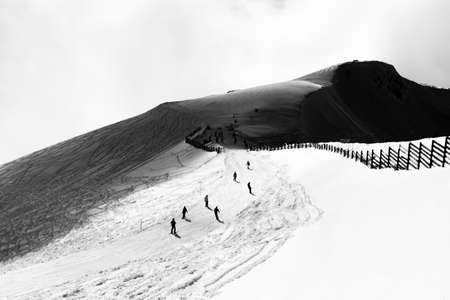 Ski resort Caucasus Mountains nature and sport Black and white photo