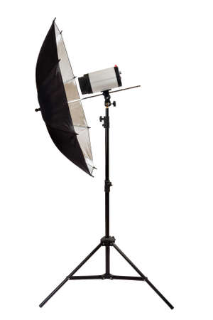 Black studio umbrella isolated on the white background photo