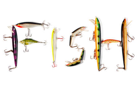 fishing gear: Colorful wobbler on isolated white background