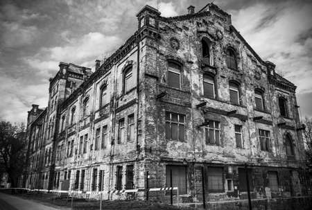demolished house: Abandoned house against blue sky Stock Photo
