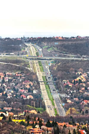 Highway aerial view from natural park