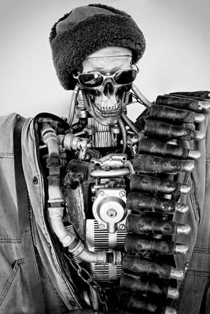portarit: Vintage robot portarit in black and white photo Stock Photo