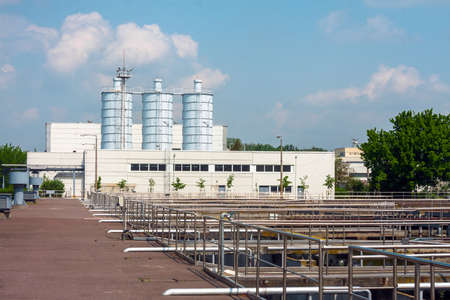 Water cleaning facility outdoors Редакционное